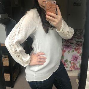 Tops - Ivory White Crochet Sleeve Blouse Top, S